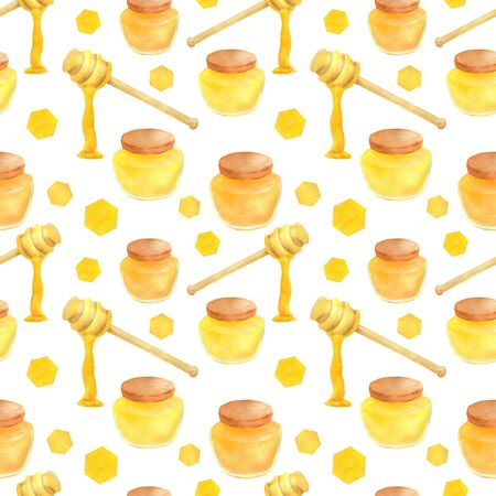 Watercolor apiculture seamless pattern. Hand drawn honey jar, dipper spoon and stick, honeycomb. Illustration isolated on white background for design, decoration, food packaging.