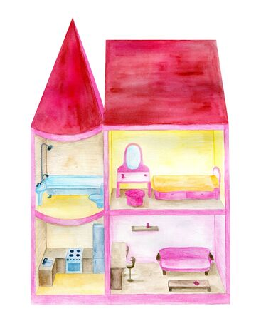 Watercolor doll house. Hand drawn inside view of the interior with furniture. Toy illustration isolated on white background. Reklamní fotografie
