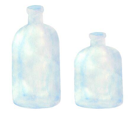 Set of watercolor transparent glass bottle. Hand drawn light blue vases for decoration and design