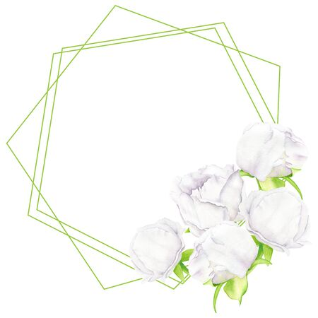 White watercolor peony flower and buds frame with geometric shapes. Hand drawn template on white background. Illustration for greeting card, invitation, save the date, wedding, home decoration, printing