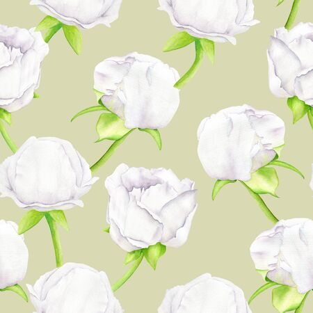 White watercolor Peony flower and buds seamless pattern. Hand drawn illustration on golden background. Design for greeting card, invitation, wedding, textile, decoration, wrapping paper, printing Zdjęcie Seryjne