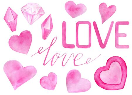 Watercolor romantic set for Saint Valentines Day. Hand drawn pink hearts, love, diamonds, calligraphy lettering. Elements isolated on white for greeting cards design, wrapping, posters, printing