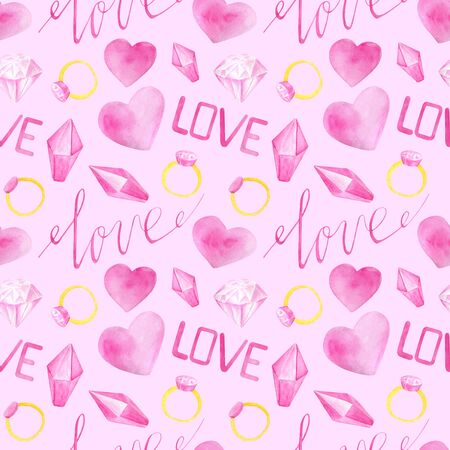 Watercolor romantic seamless pattern for Saint Valentines Day. Hand drawn pink hearts, love, diamonds, rings, calligraphy lettering. Elements isolated on pink for greeting cards, wrapping, printing