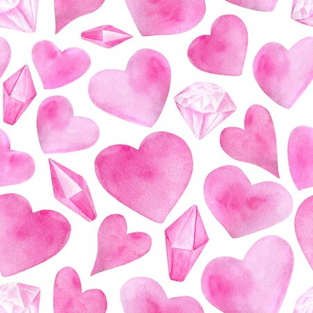 Watercolor romantic seamless pattern for Saint Valentines Day. Hand drawn pink hearts, diamonds, crystals. Elements isolated on white for greeting cards, wrapping, printing Zdjęcie Seryjne