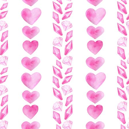 Watercolor romantic seamless pattern for Saint Valentines Day. Hand drawn pink hearts, diamonds, crystals in line border. Elements isolated on white for greeting cards, wrapping, printing