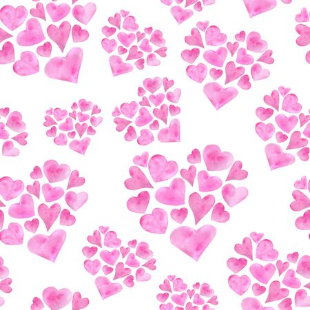 Watercolor romantic seamless pattern for Saint Valentines Day. Hand drawn pink heart shapes. Elements isolated on white background for greeting cards design, wrapping, posters, printing