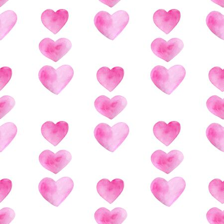 Watercolor romantic seamless pattern for Saint Valentines Day. Hand drawn pink heart lines. Elements isolated on white background for greeting cards design, wrapping, posters, printing