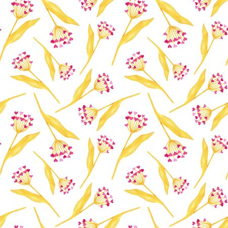 Watercolor golden plants with heart shaped flowers. Hand drawn abstract seamless pattern for Sait Valentines day, cards, wrapping, textile. Cute elements isolated on white background.