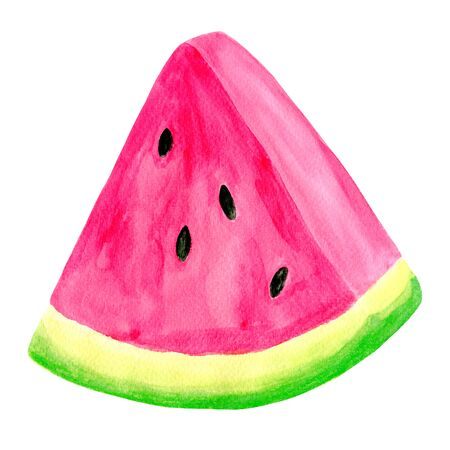 Watercolor juicy watermelon slice. Hand drawn colorful illustration isolated on white background for decoration, packaging, wrapping, cards, design