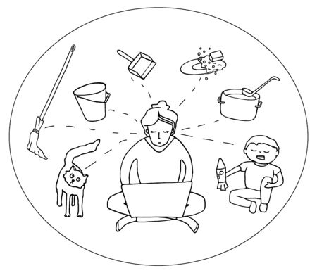 Disadvantage of work from home. Woman with laptop surrounded by child, cat, household duties. Hand drawn doodle vector illustration. Mother working home. Freelance, quarantine concept