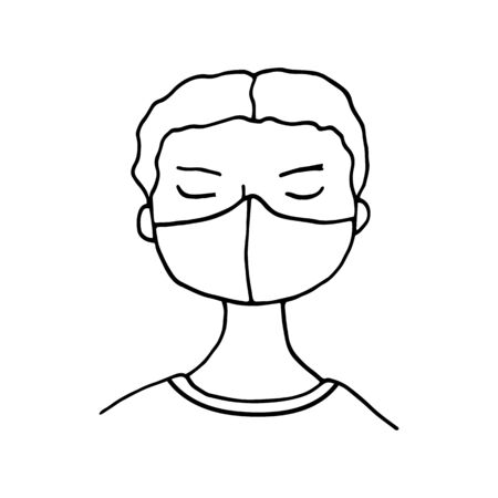 Little boy wearing face mask. Hand drawn vector doodle child in medical mask. Coronavirus protection, covid-19 disease prevention concept. Protective masks respirators for healthcare.