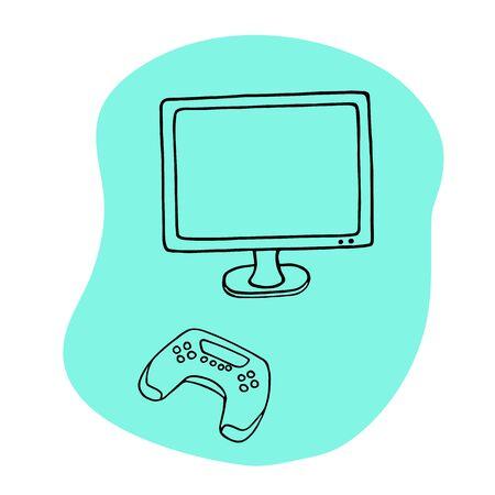 Tv and joystick vector illustration. Hand drawn doodle videogame on tv gamepad. Hobby and leisure time concept.