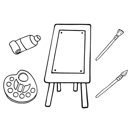 Art supplies vector illustration. Hand drawn easel, brushes, palette and color tube. Outline doodle tools for painting. Time for hobby concept