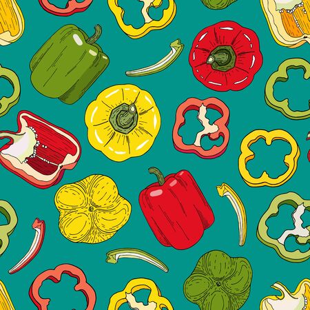 Bell pepper seamless pattern. Hand drawn red, green, yellow peppers vector illustration on green background. Whole capsicum, halved pepper and slice. Paprika design for kitchen textile, recipe book