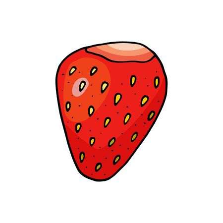 Sweet strawberry vector illustration. Hand drawn cartoon doodle drawing. Bright red berry with yellow seeds isolated on white background for package, decoration, poster, banner, card.
