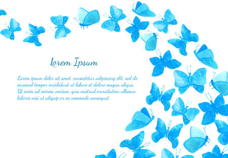 Watercolor blue butterflies card template. Hand drawn illustration of flock of fairy butterflies isolated on white background with space for text. Cute horizontal frame for banner, poster, invitation.