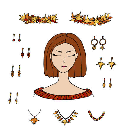Autumn fashion creator. Young woman and fall accessories with leaves. Earrings, necklace, maple leaves crown isolated on white background. Stock cartoon vector illustration to create your design. Vettoriali