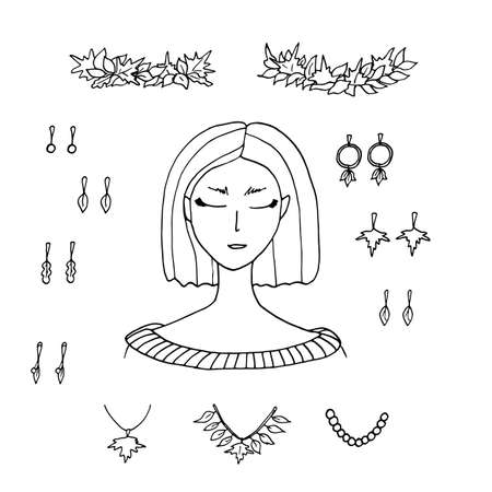 Autumn fashion creator. Young woman and fall accessories with leaves. Earrings, necklace, maple leaves crown isolated on white background. Stock doodle vector illustration to create your design. Vettoriali