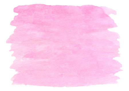 Watercolor pink brush stroke isolated on white. Hand painted pastel colored aquarelle background. Textured template smear for text or decoration design, scrapbook paper, banner, cards.