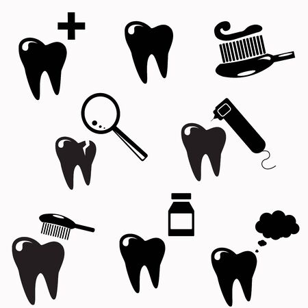 teeth white: Tooth , teeth icons set, black and white design