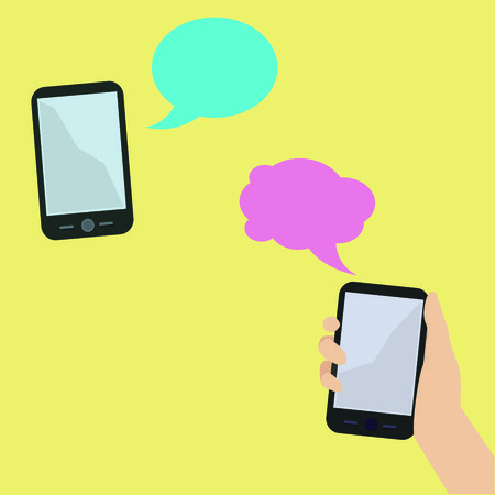 exchanging: illustration of two phones exchanging talk bubbles.