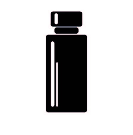 tall: black bottle with shadows , white backround, tall