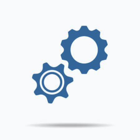 gear icon: blue gear icon. Single flat icon on white background. illustration. social networking teamwork symbols