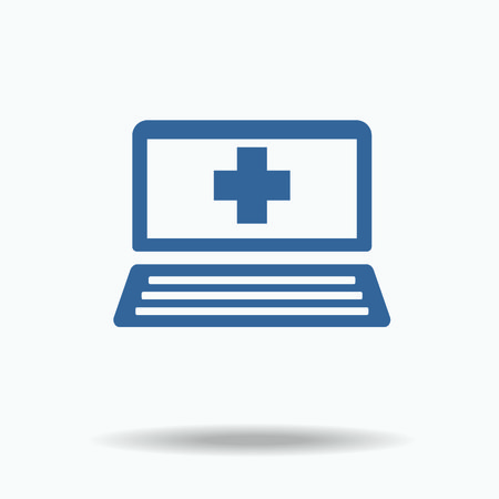 pharmacy sign: Illustration of an isolated laptop icon with a pharmacy sign.  One of set web icons Illustration