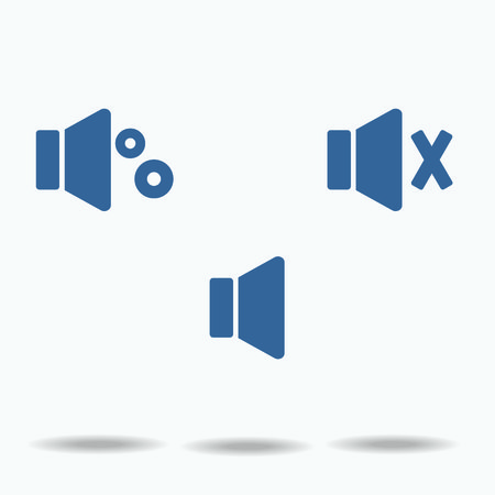 urgent announcement: blue speaker icons, flat icons on, white background. vector illustration., One of set web icons