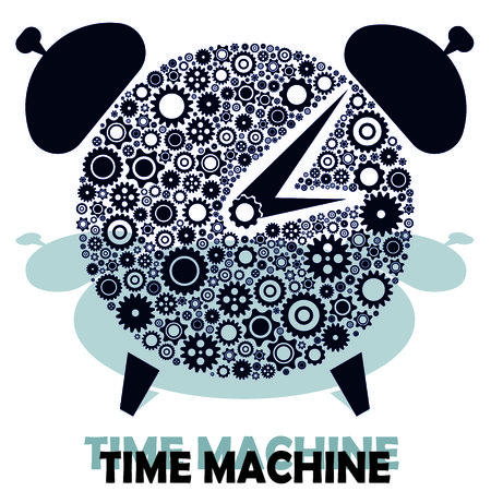 time machine: gears icon form the shape of clock. Flat design. complite with your text. time machine text.