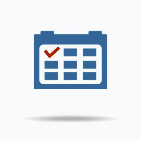 red point: Calendar icon with red point. flat design. vector