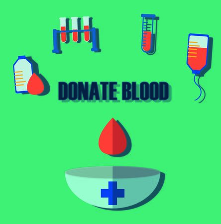rh: Blood donation, medicine help hospital, save life, flat style, minimal