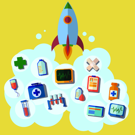 the first help: rocket icon, first help, emergency, medical icons