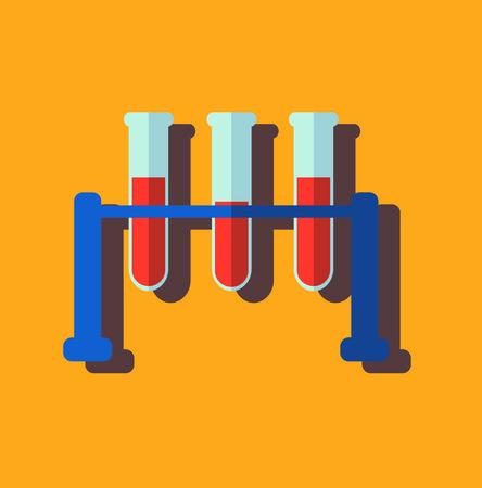 Medical test tube with blood, flat design, vector illustration Illustration