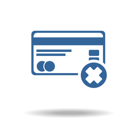 cvv: Credit card icon with cross sign, not accept concept,