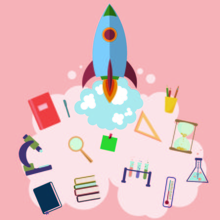on space with rocket. education design. infographic,people learn concept vector illustration. school Illustration