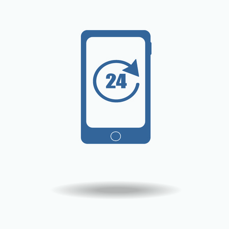 hot line: Twenty four hours by seven days hot line service concept. Support concept. blue icon. Single flat icon isolated on white background. vector illustration., One of set web icons.