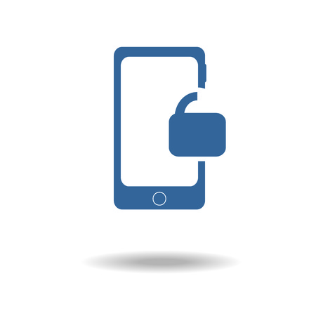 unlocked: Smartphone Unlocked icon. Internet security concept icon. Identification and protection simbol. smart phone infographic element with unlock icon.