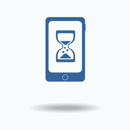 phone time: loading concept. loading. Phone Hourglass Countdown Clock. blue icon. Single flat icon isolated on white background. vector illustration., One of set web icons. Time concept.
