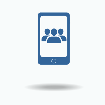 conference call: conference call concept. User Profile, Group Icon . People Icon. Crowd icon. Flat icon, One of set web icons. Illustration