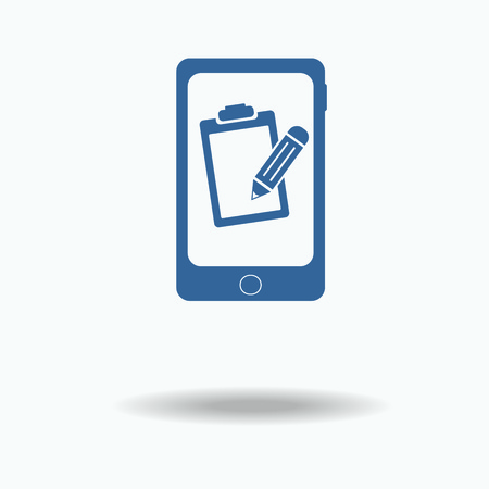 set form: Phone mobile form, queue, resume. Pictograph of file . Single flat icon on, white background. vector illustration. One of set web icons.