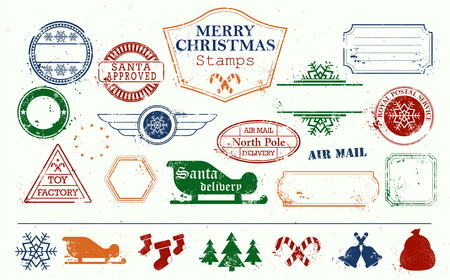Merry Christmas and Happy New Year stamps set. Colourful bright vector illustration. Toy factory. Santa approved. North pole. Postal set. Removed texture background.