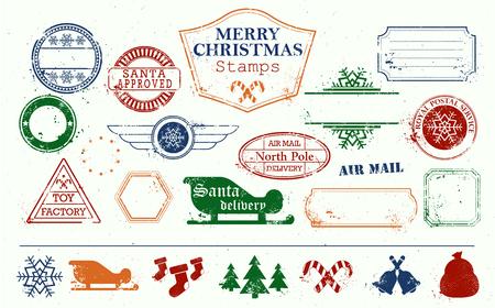 Vrolijke kerst en gelukkig Nieuwjaar stempels instellen. Kleurrijke heldere vectorillustratie. Speelgoedfabriek. Santa goedgekeurd. Noordpool. Post ingesteld. Achtergrond textuur verwijderd.