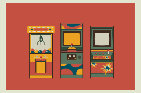 Arcade spelmachines en klauwmachine. Retro kleuren, plat ontwerp. Behang of postergebruik. Elementen voor ontwerp. Een van de pretpark-series.