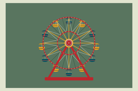 Ferris wheel vector illustration. Element for your design. Poster or wallpaper use. One of amusement park series.