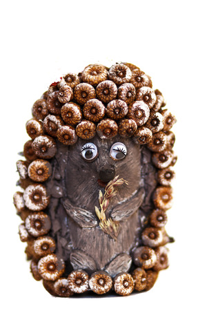 hand made toy  hedgehog from acorns photo