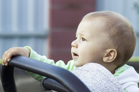 perambulator: portrait of a child in a baby carriage