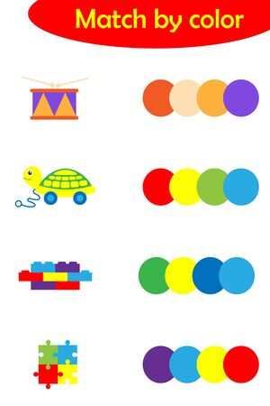 Matching game for children, connect colorful toys with same color palette, preschool worksheet activity for kids, task for the development of logical thinking, vector Ilustración de vector