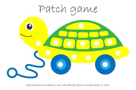 Education Patch game toy turtle for children to develop motor skills, use plasticine patches, buttons, colored paper or color the page, kids preschool activity, printable worksheet, vector