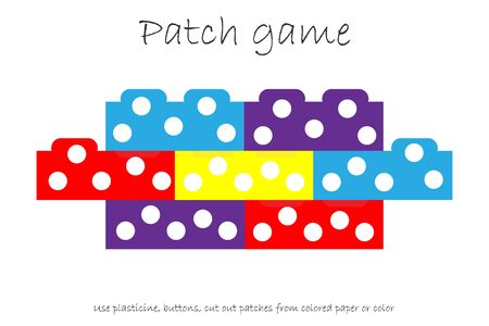 Education Patch game constructor for children to develop motor skills, use plasticine patches, buttons, colored paper or color the page, kids preschool activity, printable worksheet, vector